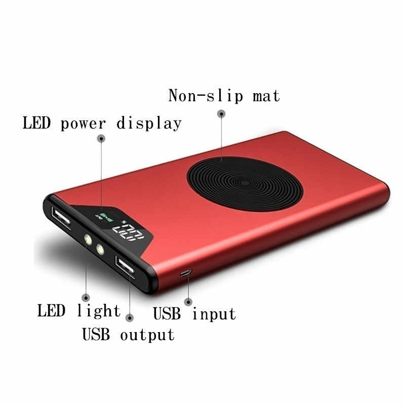 Cargador inalámbrico Qi de 30000mAh, carga rápida, cargador portátil de batería externa USB, cargador de iluminación LED con pantalla Digital