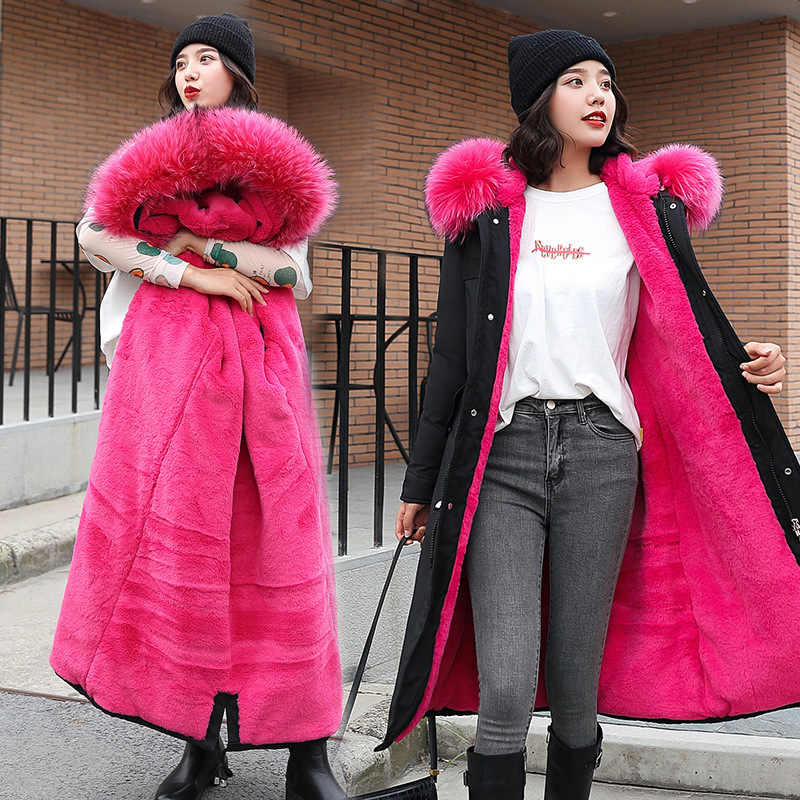 Cotton Coat Women's Winter Mid-length Korean-style Slim Fit Large Fur Collar Cotton-padded Clothes Women's New Style Thick Warm