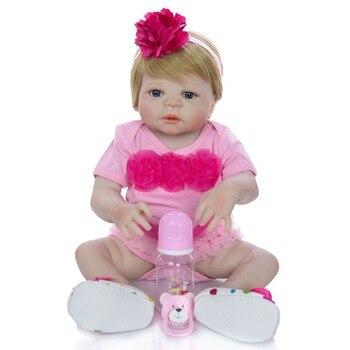 "Full silicone reborn baby girl doll bebes reborn 23"" 57cm children gift can bathe bonecas"