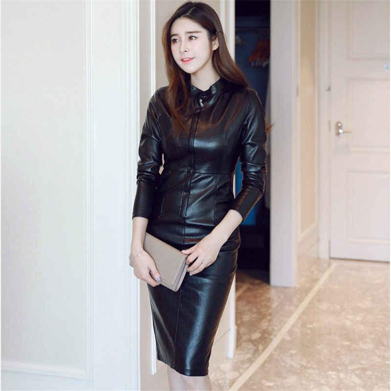 MÙA THU ĐÔNG Mới Thời Trang Ôm Dáng Gói Hông Plus Nhung Da PU Đầm Áo Nữ Dài Tay Chuyên Nghiệp Bodycon Đầm F1989