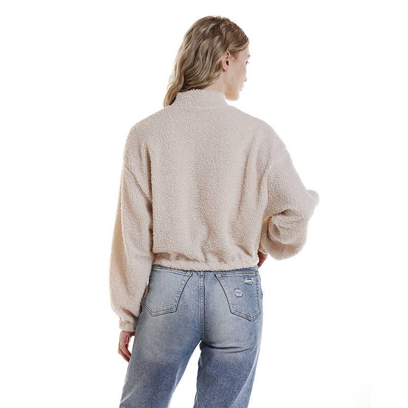 Moletom com capuz de manga longa branco recortado feminino outono primavera pulôver curto moletom com zíper