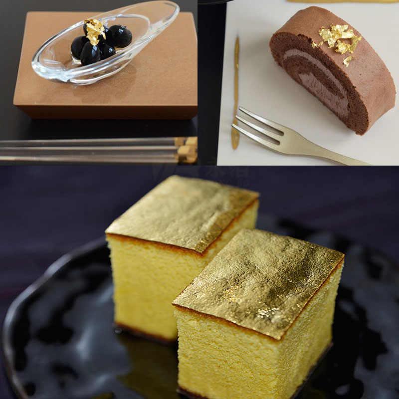 אכיל זהב עלה גיליונות 10 גיליונות 4.33x4.33cm 24K טהור אמיתי פנים זהב רדיד לבישול עוגות שוקולדים קישוט