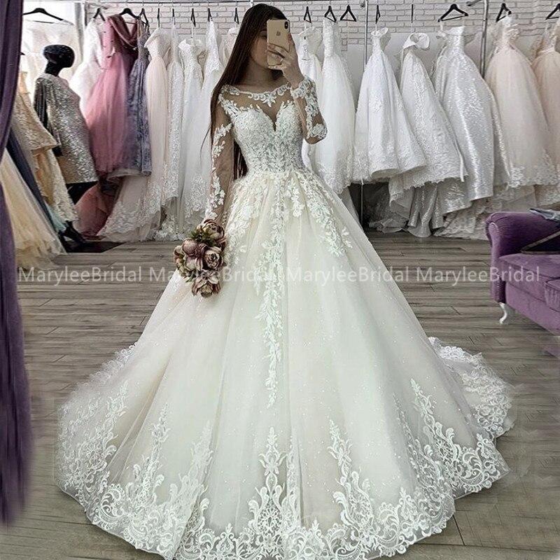Princess Ball Gown Long Sleeve Wedding Dress Vintage Appliques Sheer Scoop Neck Vestido Novia Sparkle Tulle свадебные платья