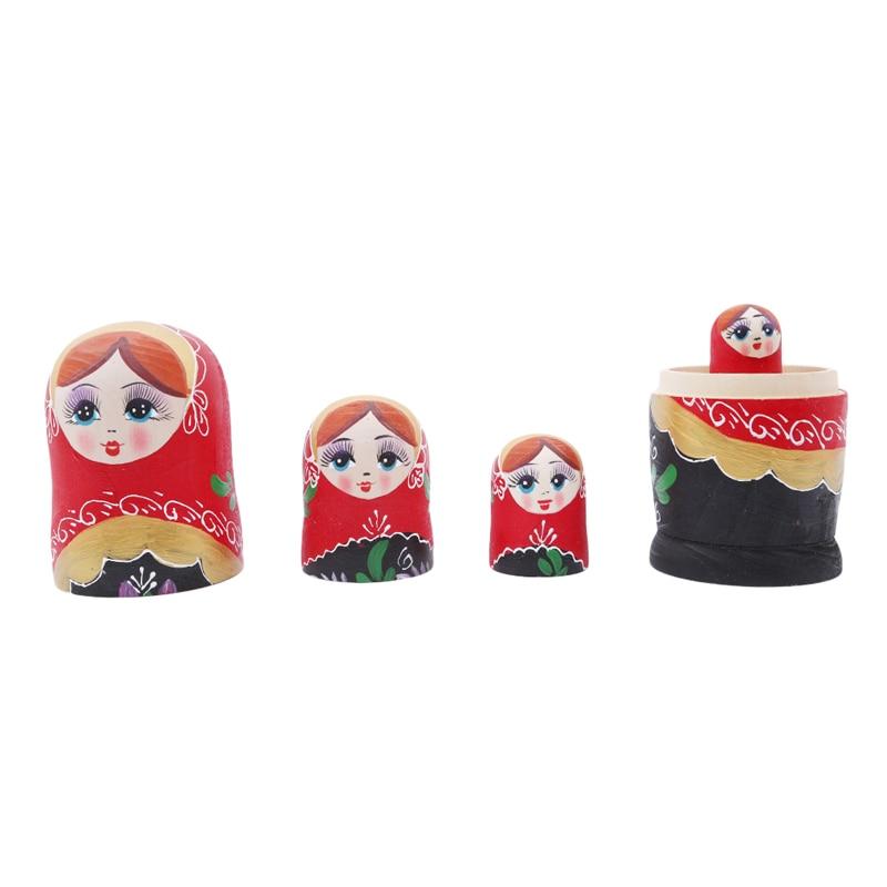 5 шт. деревянная красная девушка Русская Матрешка кукла ручной работы окрашенные матрешки Рождественский подарок для детей