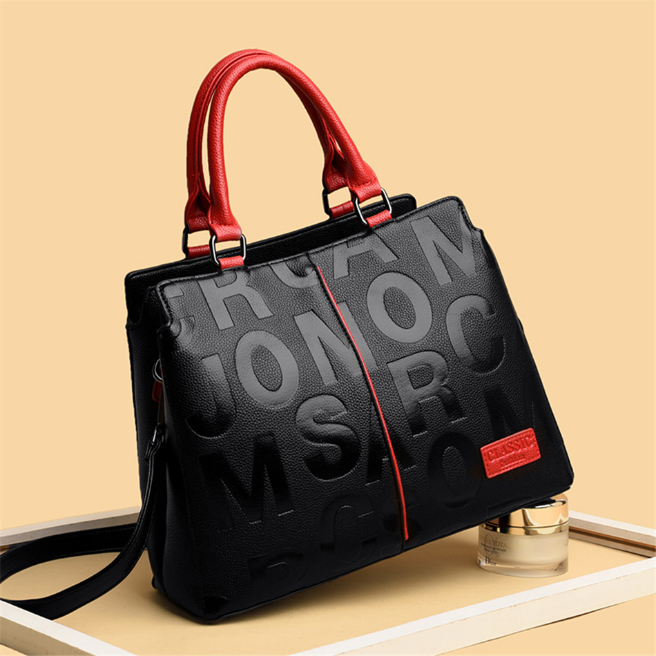 Ladies Quality Leather Letter Shoulder Bags for Women 2021 Luxury Handbags Women Bags Designer Fashion Large Capacity Tote Bag 2