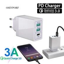 30W 3 Cổng Sạc Tường QC 3.0 3A PD FCP AFC Nhanh Adapter EU Mỹ Tường Adapter Sạc Nhanh dành Cho Samsung S10 Xiaomi 10 USB Sạc
