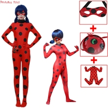 Halloween Insect Ladybug Dot Costumes Kids Girl&Boy Cosplay Carnival Party Clothes Children Lady Bug Coverall Suit +Bag+Eye Mask ladybug girl clothes miraculous kids marinette cartoon second skin halloween party costumes suit cosplay costumes mask bag toy