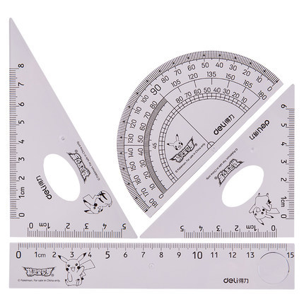 New Products Deli 71959 Pikachu System Class Ruler Transparent Triangle Ruler Set Students Stationery Isosceles