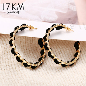 17KM Trendy Black Gold Hoop Earrings For Women 2020 New Design Circle Round Earring Fashion Statement Jewelry Women's Gift