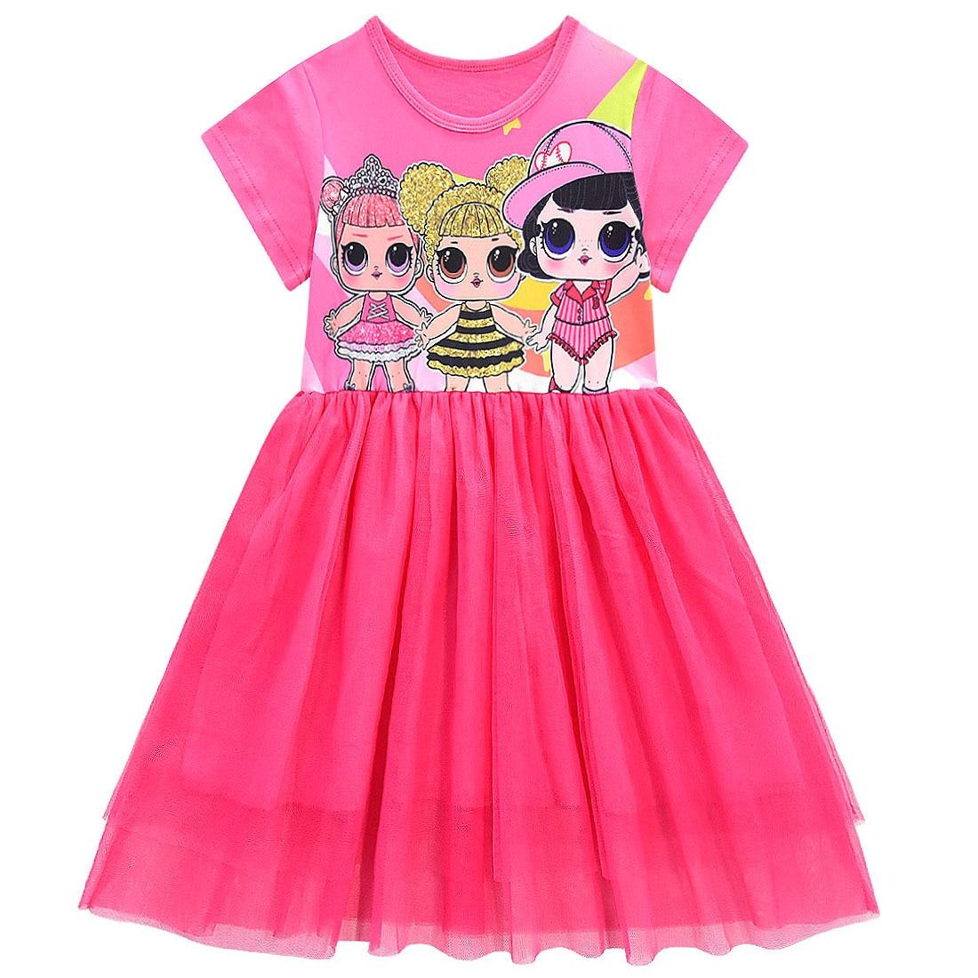 Girls Lol Dress Toddler Baby Lol Doll Clothes Kids Cartoon Print Princess Dress Children Short Sleeve Birthday Vestido for Girl 4