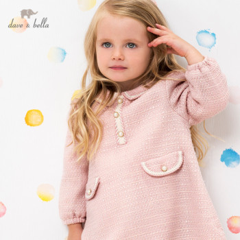 DBM15767 dave bella winter baby girl's cute zipper dress children fashion party dress kids infant lolita clothes image