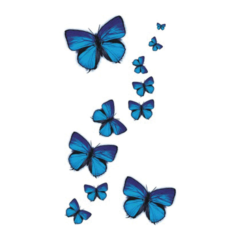 Wyuen NYHET Hot Design Midlertidig tatovering for voksen vanntett tatovering klistremerke Body Art Blue Butterfly A-049 Fake Tattoo Man Woman