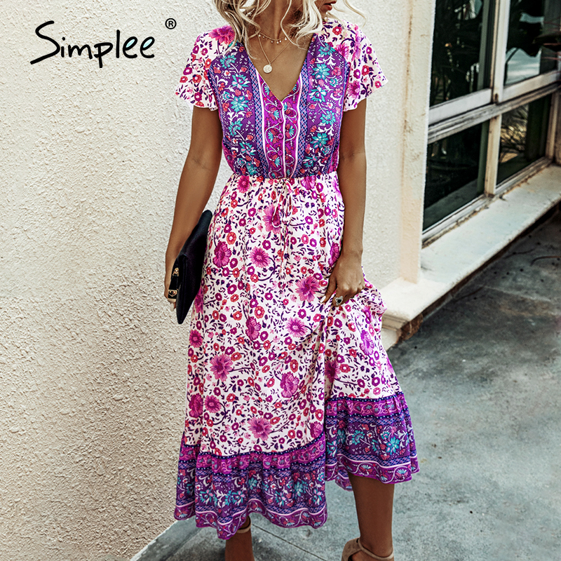 Simplee Bohemian V Neck Floral Women Summer Dress A Line Button Female Ruffle Sleeve Maxi Sundress Holiday Beach Lady Long Dress
