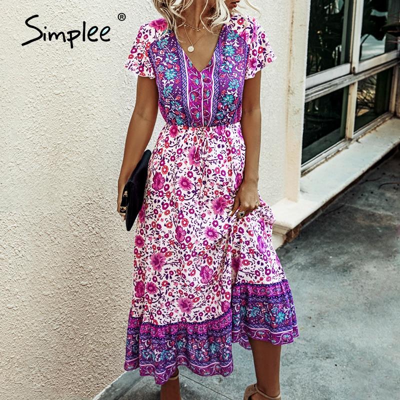 Simplee Bohemian V Neck Floral Women Summer Dress A Line Button Female Ruffle Sleeve Maxi Sundress Holiday Beach Lady Long Dress