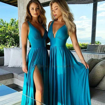 LINLING Cheap Simple Dress Women V-Neck Floor Length A-Line Sleeveless Open Back Chiffon Bridesmaid Dresses For Wedding Party alluring jewel neck leopard pattern open back dress for women