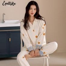 Пижама CYNTHRA Женская с длинным рукавом, милая Повседневная Свободная теплая пижама в горошек, из чистого хлопка, со звездами, осень