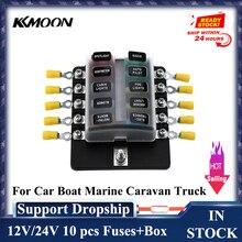 10 Uds. De fusibles de camión para coche, barco, caravana Marina + terminales 10 vías de soporte de caja de fusibles de cuchilla bloques con indicador LED rojo 12V 24V