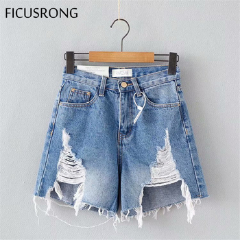 2020 Women FICUSRONG Straight Streetwear Jeans Short Pants Lady Mid-Waist  Loose Light Zipper Cotton Softener Hole Denim Pant 2019 autumn new loose cotton bomb fashion trend wild high waist jeans woman multi pocket zipper hole straight denim pants women