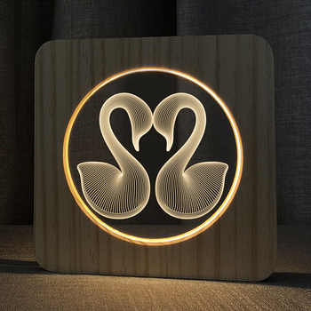 3D Wooden Flamingo Footprints Shadow LED Wood USB Desk Night Light Christianity Crucifix Crafts Table Lamps Gift Home Decoration - DISCOUNT ITEM  16 OFF Lights & Lighting