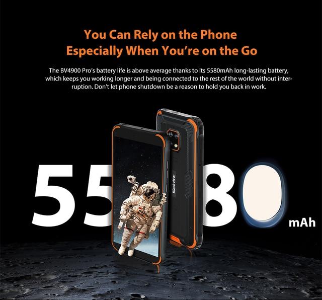 Blackview BV4900 Pro Smartphone 4GB+64GB 5580mAh IP68 Waterproof Android 10 Mobile Phone 5.7'' NFC Cellphones 4
