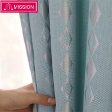 MISSION Luxurious  Jacquard Geometric Pattern Window Blue Blackout Curtains Drapes Blinds for Living Room Bedroom Custom Made