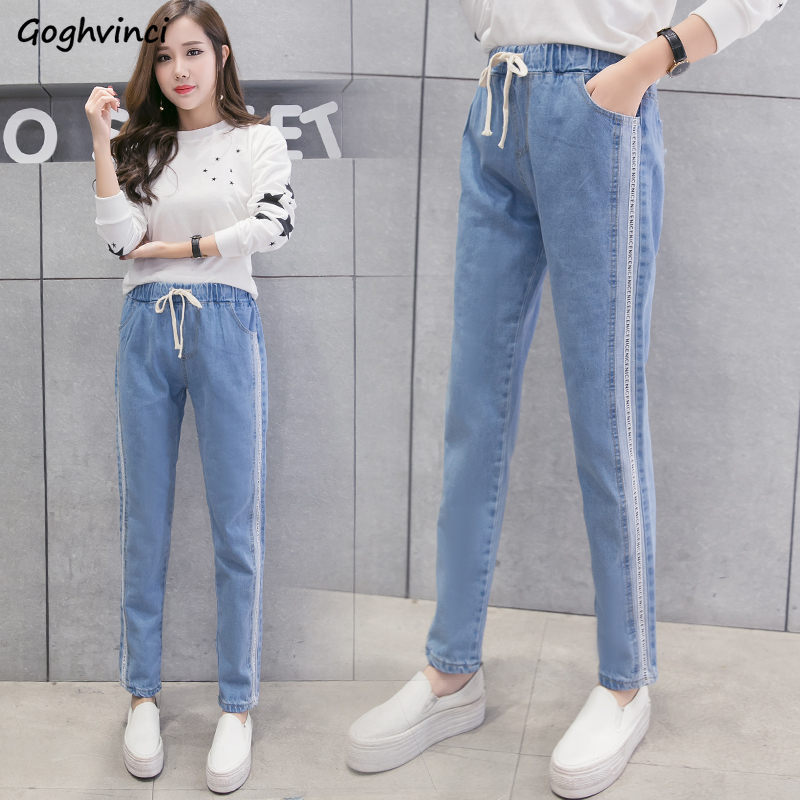 Jeans Woman Elastic High Waist Quality Full Length Students Korean Style Womens Fashion 2019 New Large Size Loose 5XL Trousers