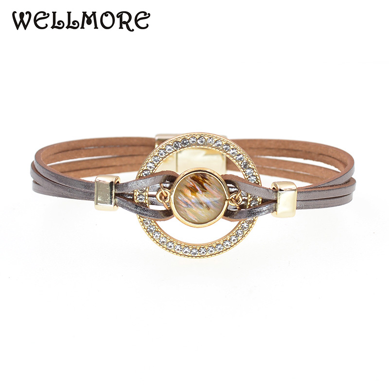 WELLMORE Leather Wrap Bracelets For Women Multiple Layers Charm Bracelet & Bangle Party Fashion Jewelry dropshipping wholesale