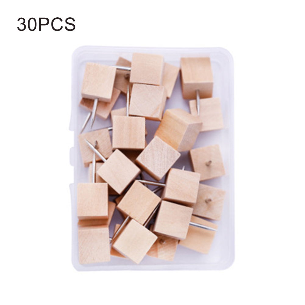 1box Decorative Cork Board Push Pin Binding Supplies Home Wooden Thumbtack Office Photo Wall Map With Organizing Container Craft