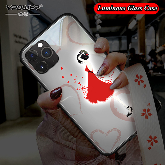 Pink Woman Stars Love girl Luminous Tempered Glass Phone Case + Glass Film For iPhone 11 Pro Max XS max XR XS X unicorn Cover