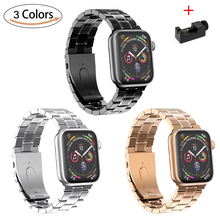 цена на Stainless Steel Strap for Apple watch band 42mm 38mm 44mm 40mm link bracelet iwatch Series 5 4 3 2 1 watchband Apple watch 5 4