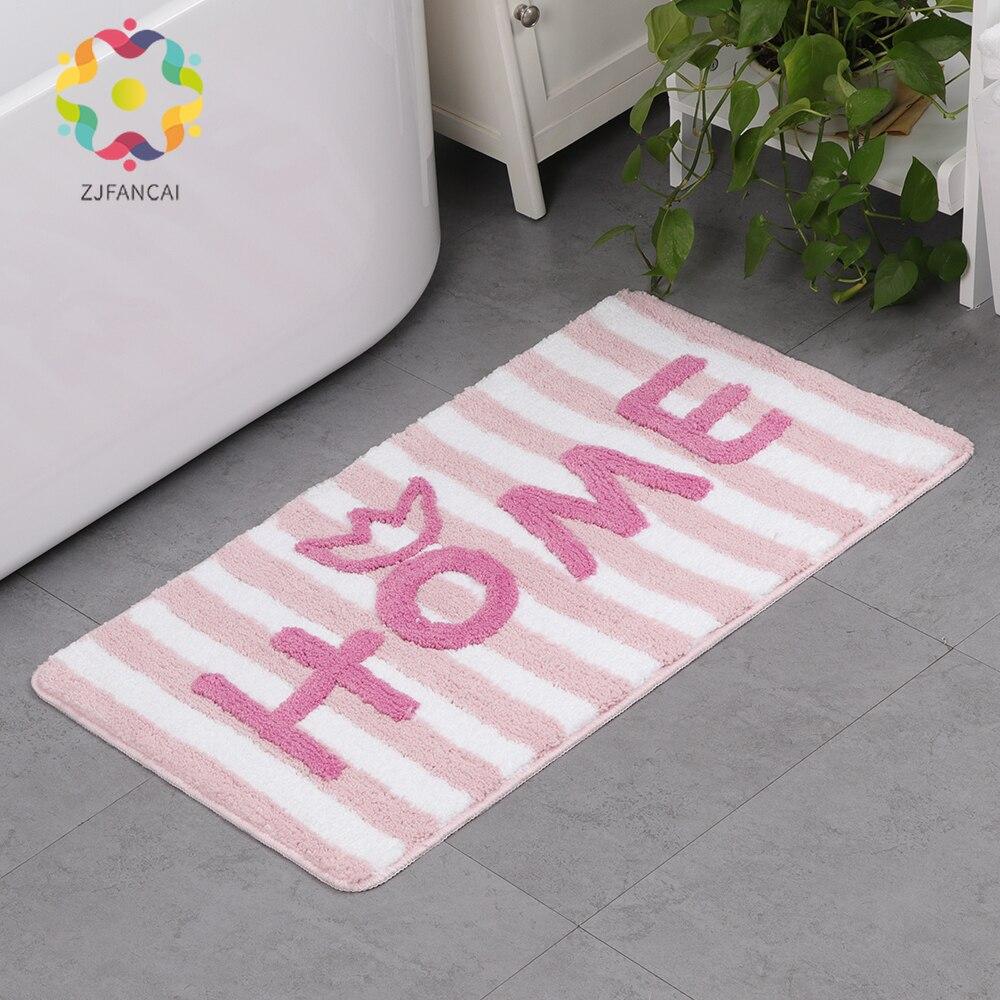 Europe et amérique microfibre ligne lettres couleur unie accueil tapis salon tapis salle de bain court velours anti-dérapant absorbant pad
