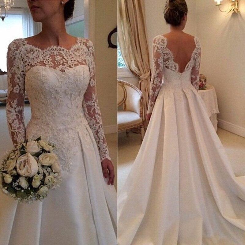 Cheap Long Sleeve Wedding Dresses 2015 Sale Satin Lace A Line Open Back Boho Bridal Gowns Custom Made China Vestido De Noiva