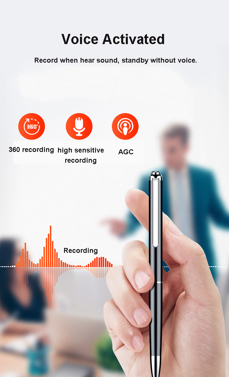 32GB Digital Voice Recorder Pen 64G 128GB Audio Recording WAV 192Kpbs Rechargeable Sound Dictaphone V10