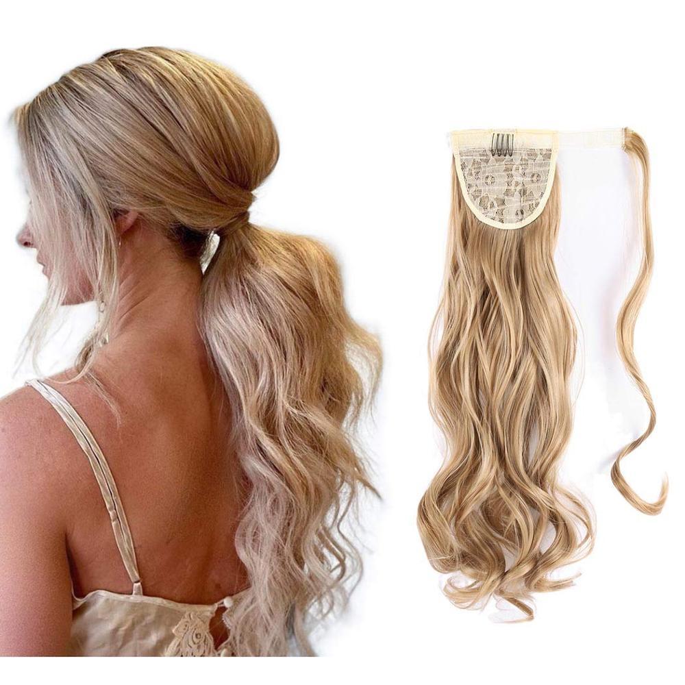 Длинные шелковистые Волнистые накладные волосы на клипсе синтетический конский хвост термостойкие искусственные волосы накладной хвост
