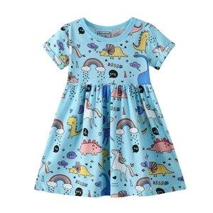 От 2 до 6 лет; Хлопковое платье принцессы для маленьких девочек; Летнее хлопковое платье с цветочным рисунком; Короткий рукав сарафана для де...