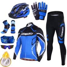 Winter Thermal Fleece Cycling Jersey Men Bicycle Clothing Mtb Pants Set Pro Team Mountain Bike Sportswear Reflective Coat