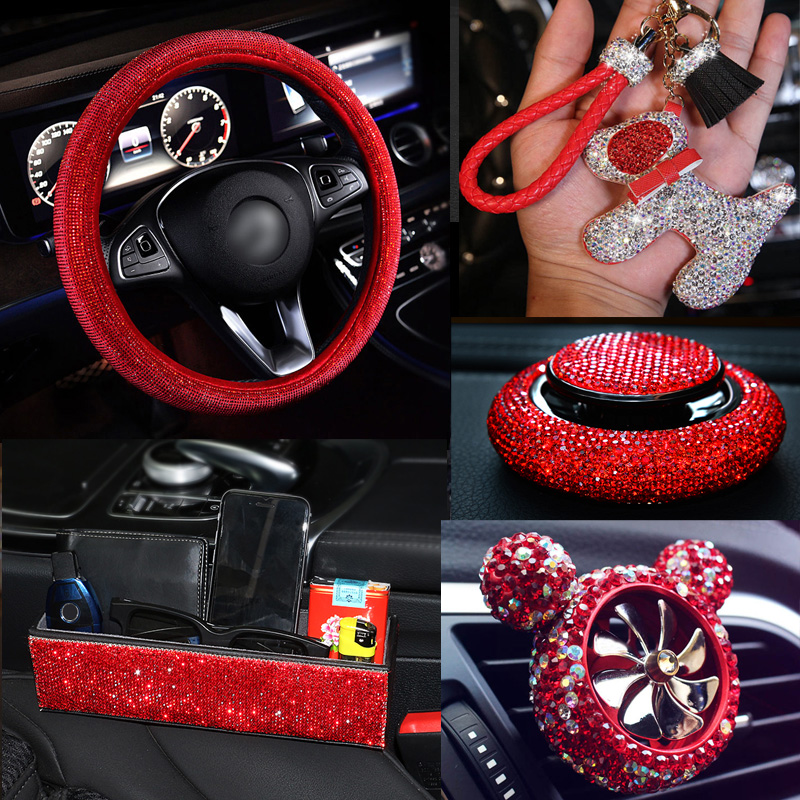 Luxury Red Rhinestone Diamante <font><b>Car</b></font> Steering <font><b>Wheel</b></font> <font><b>Covers</b></font> for <font><b>Girls</b></font> Crystal Auto Interior Accessories Tissue Holder Vent Clips image