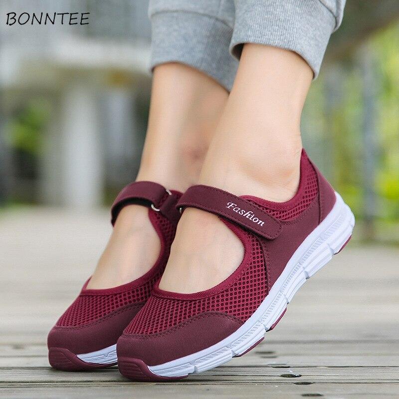 Vulcanize Shoes Women Breathable Mesh Flat Hook & Loop Womens Sneakers Trendy Simple Soft Bottom Walking Shoes Ladies Leisure