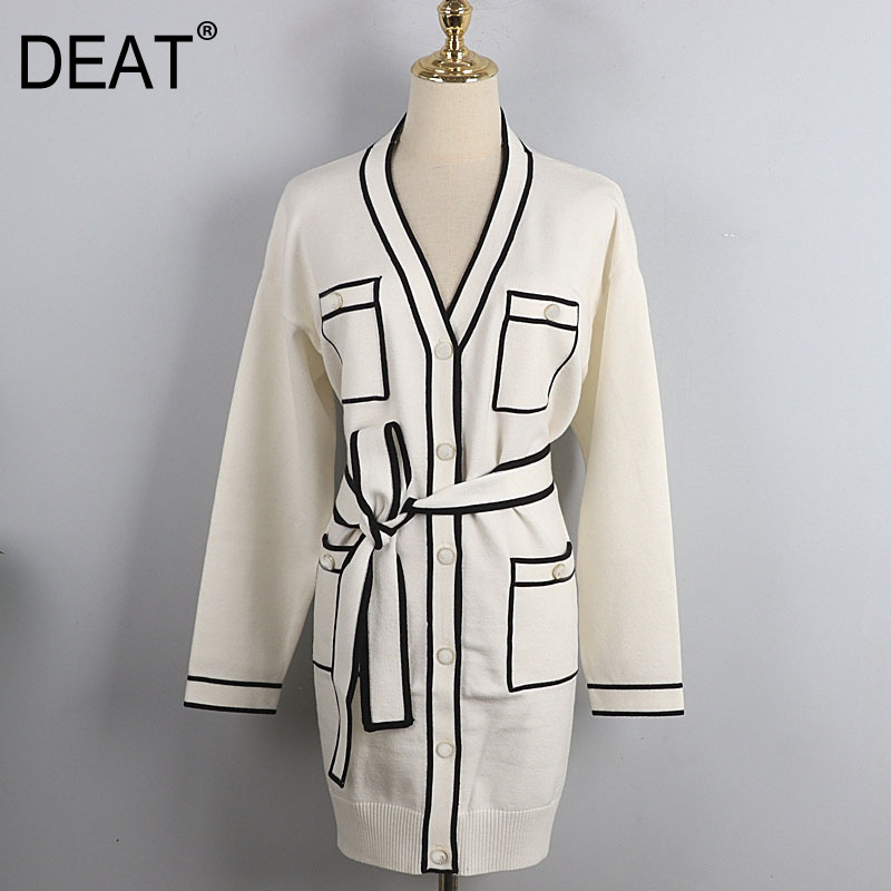 DEAT 2021 New Autumn And Winter Fashion Casual V neck full sleeves contrast colors waist belt pocket single breasted cardigan