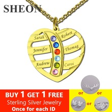SHEON 925 Silver Engraved Heart Family Name Necklace Birthstones Kids Personalized Best Gift for Mom