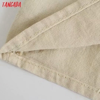 Tangada Women Pleated Cotton Linen Dress Sleeveless Backless 2021 Summer Fashion Lady Dresses 3H587 4