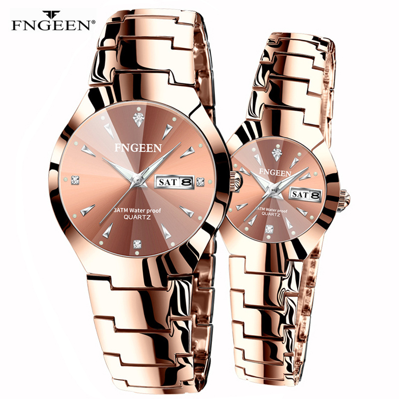Couple Watches For Lovers Quartz Wristwatch Fashion Business Men Watch For Women Watches Tungsten Steel Coffee Gold Pair Hour