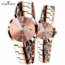 Çift saatleri severler için kuvars kol saati moda iş erkek izle kadınlar için saatler Tungsten çelik kahve altın çift saat