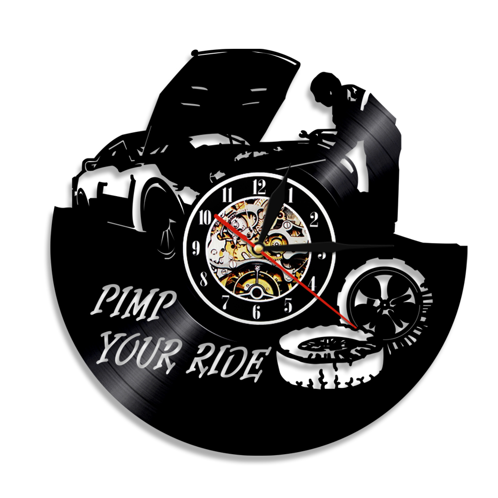 Garage Pimp Your Ride Repairing Tool Vinyl Record Wall <font><b>Clock</b></font> <font><b>Car</b></font> Service <font><b>Car</b></font> <font><b>Wheel</b></font> Quartz Wall Watch Home Decor Repairman Gift image