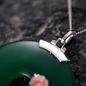 Image 4 - לוטוס כיף אמיתי 925 כסף סטרלינג בעבודת יד תכשיטים פגז שזיף פרח טבעי אבני חן תליון ללא שרשרת לנשים