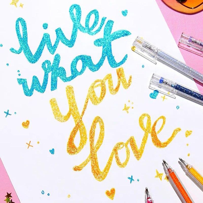 8 Colors Kawaii Glitter Gel Pen Cute Colored Drawing Pen Set Highlighter Marker For Girl Kids Gifts DIY School Art Stationery