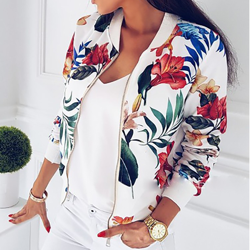 Flower Print Bomber Femme Jacket 2020 Casual Spring Long Sleeve Zipper Top Coat Lady Loose Short Jacket Streetwear Women Coat