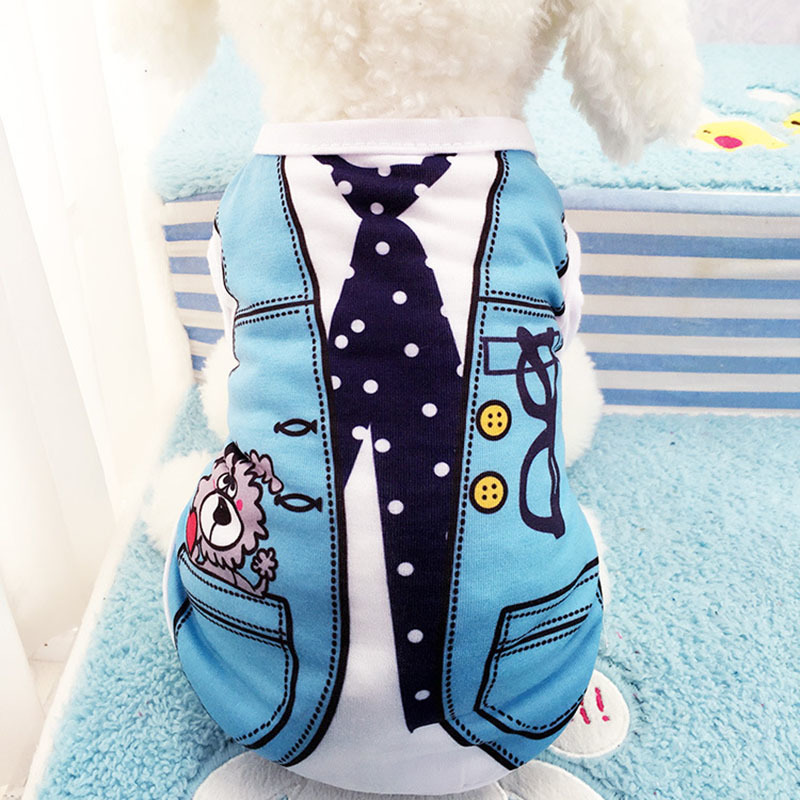 Cartoon Dog Shirt Summer Small Dog Clothes Chihuahua Tshirt Puppy Vest Yorkshire Terrier Pet Clothes Ropa Perro Pets Clothing