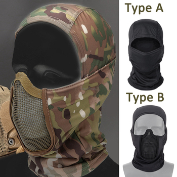 tactical full face mask hunting headgear balaclava mesh mask airsoft paintball game protective mask cs shooting ninja style mask Tactical Full Face Steel Mesh Mask Hunting Airsoft Paintball Mask Headgear CS Game Motorcycle Shooting Cycling Protective Masks