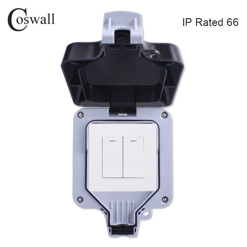 Coswall IP66 Weatherproof กันน้ำกลางแจ้ง Wall SWITCH 2 GANG 1 WAY ON/OFF SWITCH